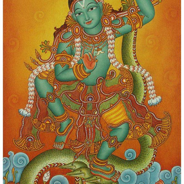 Kaliyamardanam shopswasthi for Ananthasayanam mural painting