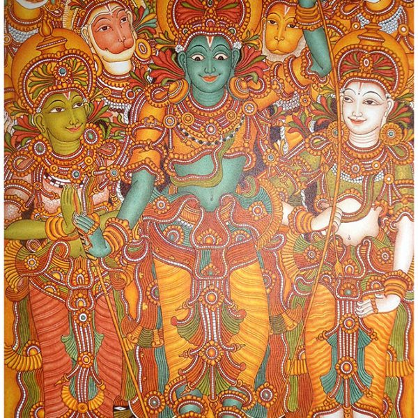 Lord shriram shopswasthi for Ananthasayanam mural painting