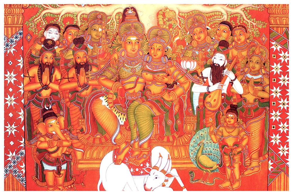 Shakti panchakshari shopswasthi for Ananthasayanam mural painting